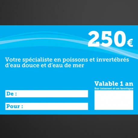 Chèque cadeau Univers Aquatique 250€